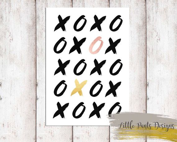 X O exes and Os poster printable digital gold rose god foil DIY printable artwork Digita by LittlePantsDesigns