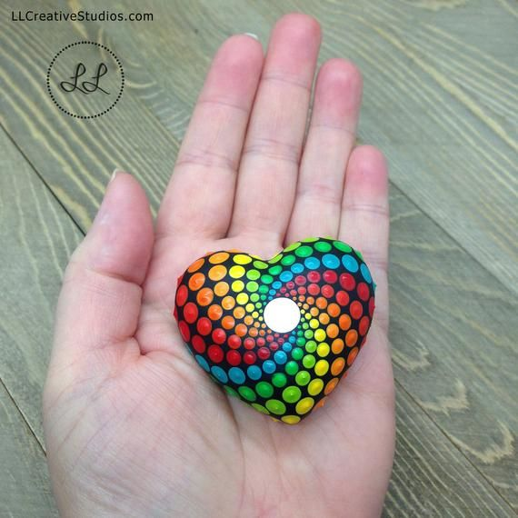 Small Painted Heart Mandala Rock Pocket Mandala Rainbow Etsy Mandala Rock Art Dot Art Painting Mandala Stones