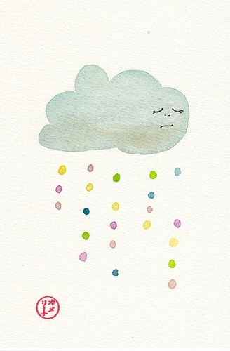 Rainy Day Cloud, watercolour postcard