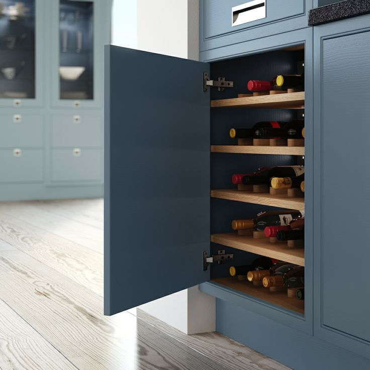 Modern Classic larder unit with integral wine rack - Hand Made Kitchens by Mereway