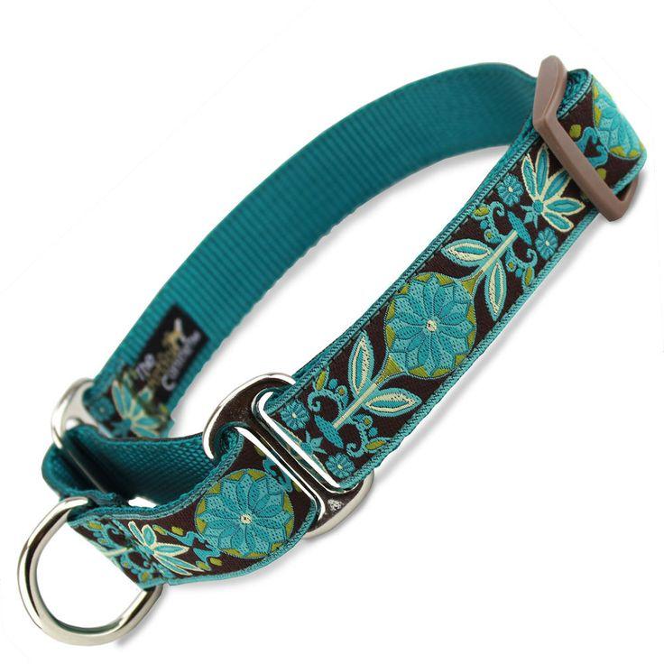 Teal Flower Martingale dog Collar, Floral, Limited Slip Safety Collar