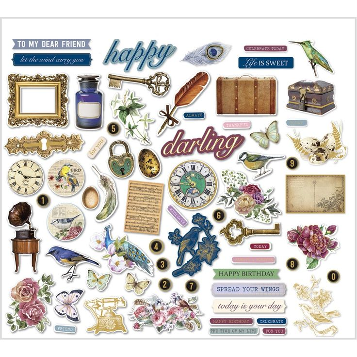 Fantastische Stickers, afm 10-90 mm,  120 gr, vintage, 138stuks. Zo leuk voor kaarten maken, mixed media, decoreren van notitieboeken enz.