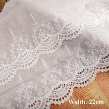 22cm Vintage ivory color cloth lace for garment Cotton embroidered lace trims Fabric lace for scrapbooking(ss-4911)(China (Mainland))