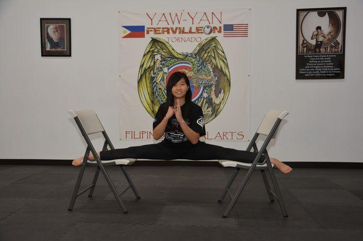 Traditional Yaw-Yan Split performed by Christine at Yaw-Yan Fervilleon Tornado, Yaw-Yan Martial Arts USA HQ.  October 16, 2015.