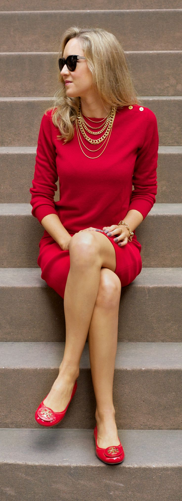 The Classy Cubicle: Seeing Red | Business Fashion | I adore this outfit but how did she possibly match these red separates to the same shade of red?
