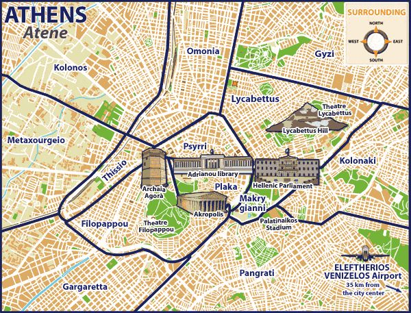 athens greece area map #TheCrazyCities #crazyAthens www.house2book.com | Getting around in ...