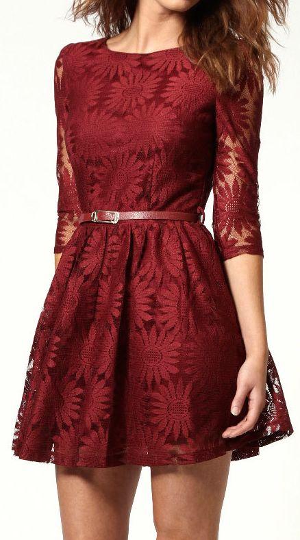 Burgundy floral lace dress