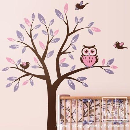 Owl Tree Decal Vinyl Wall Decal Nursery Vinyl Wall Decal - Tree with Owl and Birds Wall Decal Kids Nursery Baby Room Decal Sticker Art Decor via Etsy
