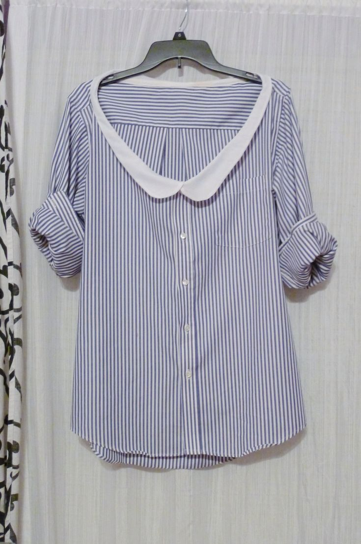 Thrifted Mens Shirt With Diy Peter Pan Collar • Free tutorial with pictures on how to make a shirt in under 60 minutes #howto #tutorial