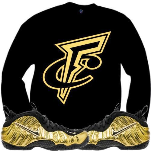 Metallic Gold Foamposites Sneaker Crewneck - FRESH CENTS