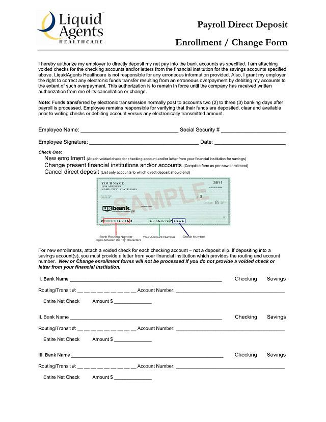 Chase Direct Deposit Authorization Form Unique Routing Number For