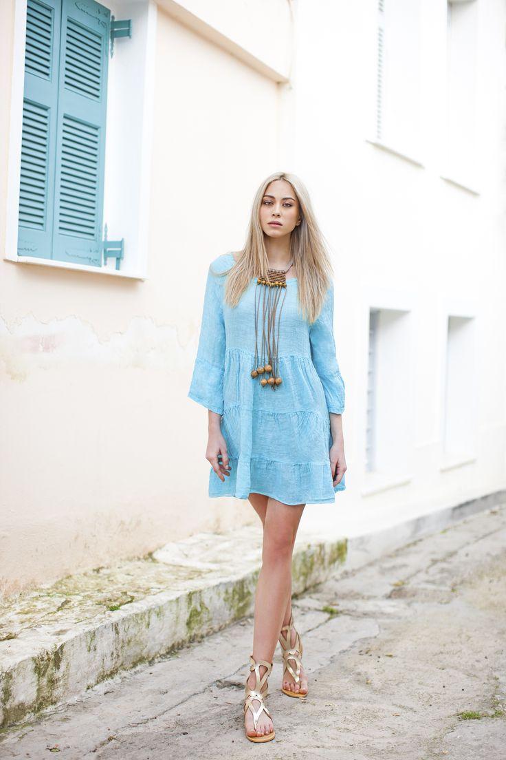 Haris Cotton, Linen Gauze Dress  1304  Aqua