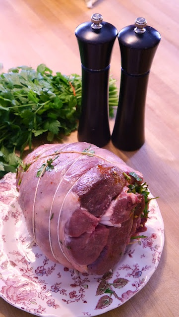 Herb-Stuffed Boneless Leg of Lamb with Grainy Mustard Crust