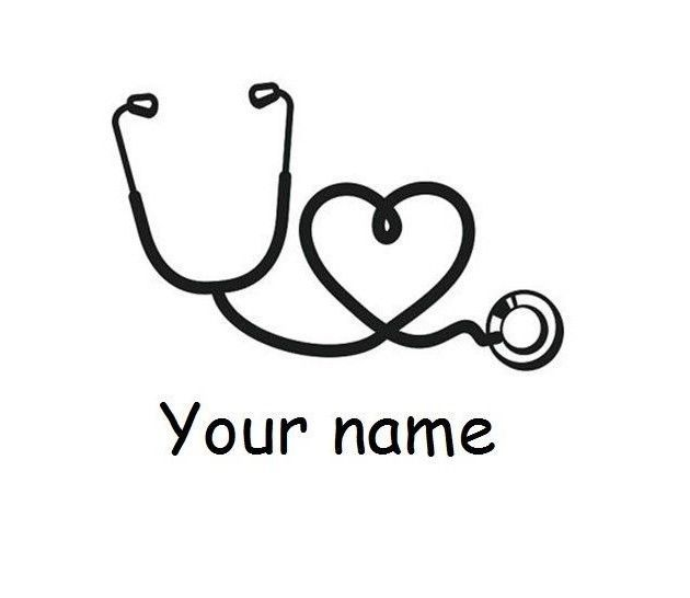 Personalized Stethoscope Heart Nurse Monogram Vinyl Decal