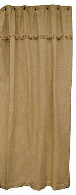 New Primitive Country BURLAP SHOWER CURTAIN Rustic Farmhouse Chic