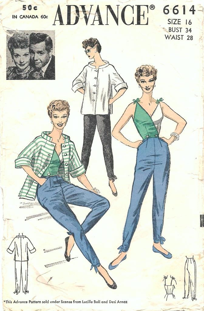 Advance 6614 pants top sewing pattern (Lucille Ball)