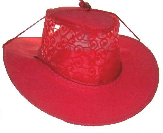 Rot Blau o. Sand Spitze eleganter Damenhut Western style S,M,L,XL,XXL Kakadu