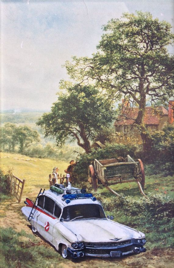 Ghostbusters Painting 'Ecto1'  Repurposed Thrift Art by DavePollot