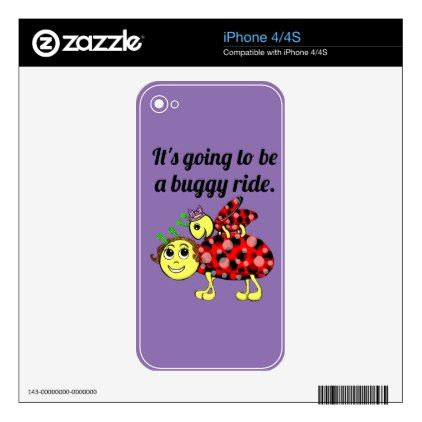 Ladybug Movie Buff phone it in Decals For iPhone 4 - cyo diy customize unique design gift idea