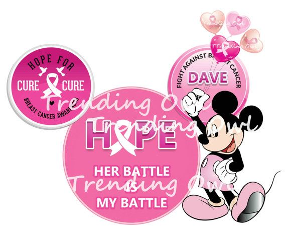 Disney Mickey Ear graphics with Breast Cancer by TrendingOwl