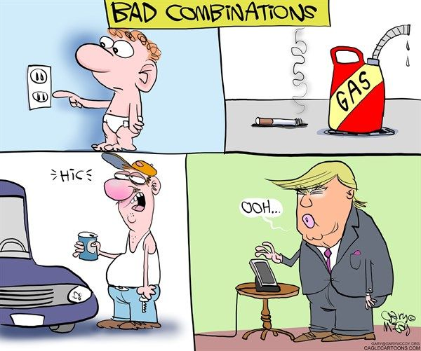 Gary McCoy - Cagle Cartoons - Bad Combinations - English - Trump Tweets,Tweeting,Twitter,Trumps Twitter Account,Covfefe,Coverage,Confefe,Negative Press Coverage