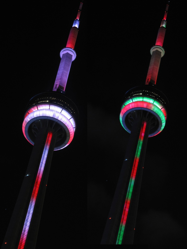 Festive December Lighting at the CN Tower