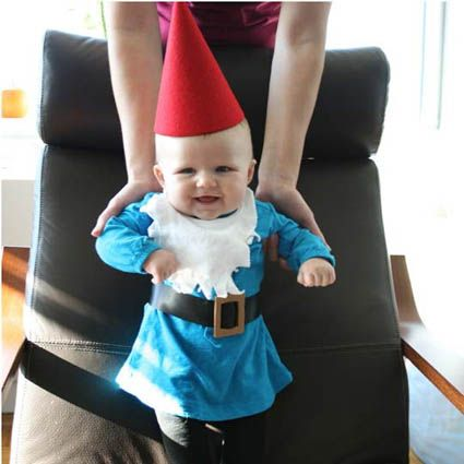 Hilarious epidemic sweeping baby land in which cute babies are being dressed up as garden gnomes.
