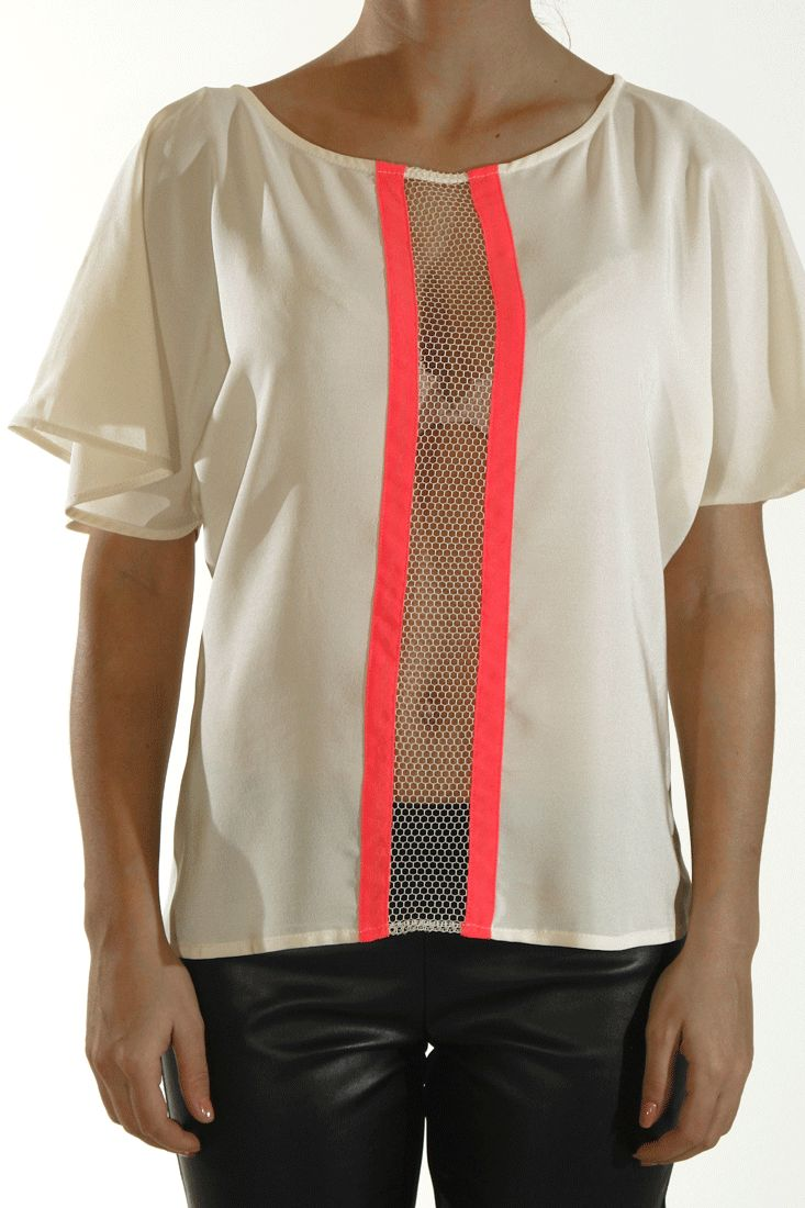 Silk top with net front detail Fluo fuschia stripes Runs true to size Loose fit by oneonone #greek4chic #oneonone