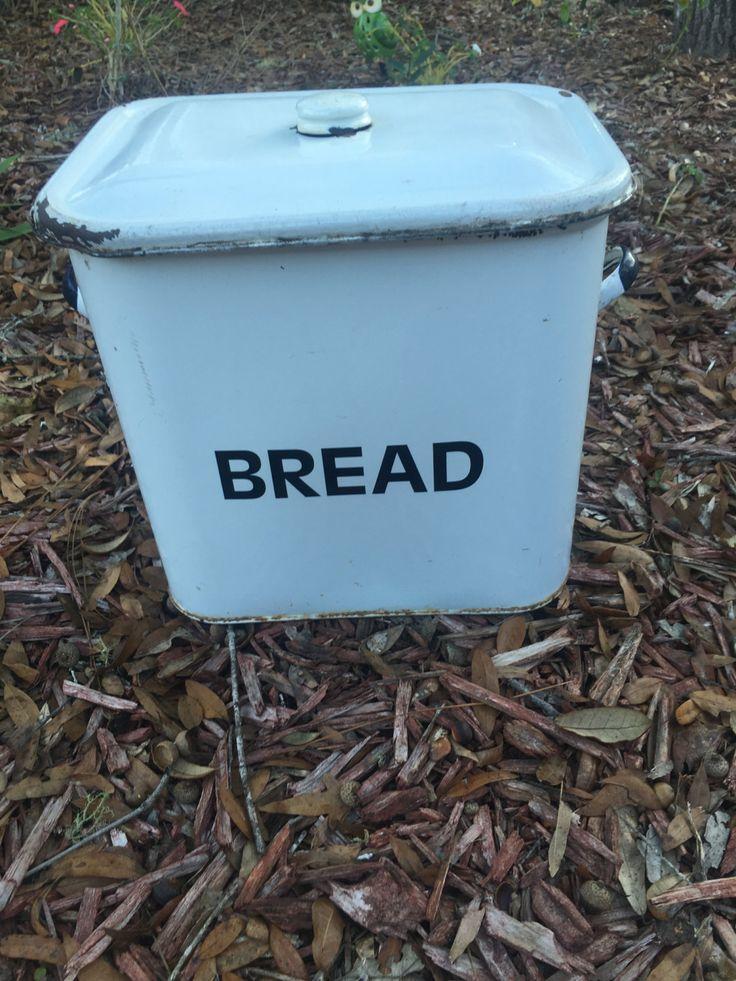 Vintage Bread Box, Enamel Storage Container, Farmhouse Decor by MaggieBleus on Etsy