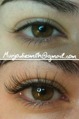My eyelash extension work, before and after