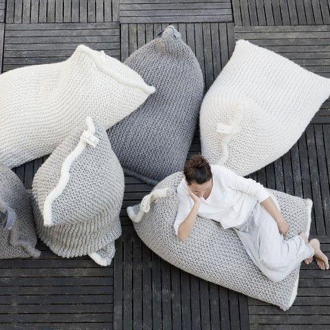 Zilalila Australia -  Zilalila Nest Knitted Bean Bag - Dark Grey - Growing Footprints - 3