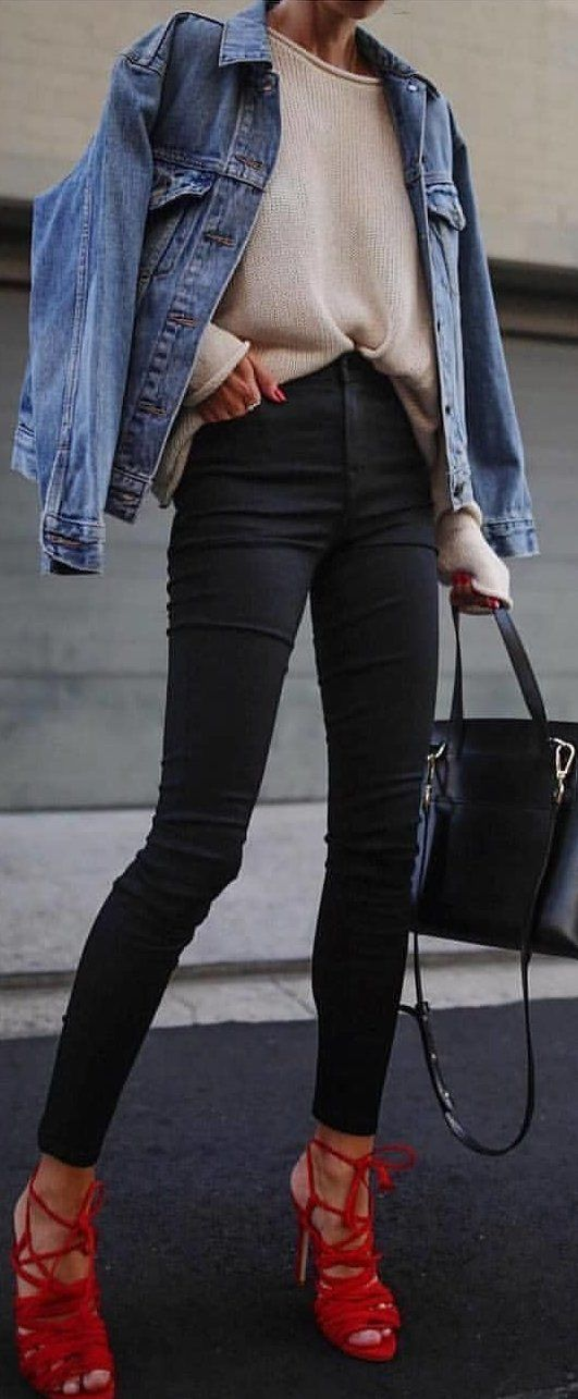#spring #outfits blue denim jacket, brown shirt, black fitted jeans and pair of red gladiator heeled sandals. Pic by @rome_fashion_style