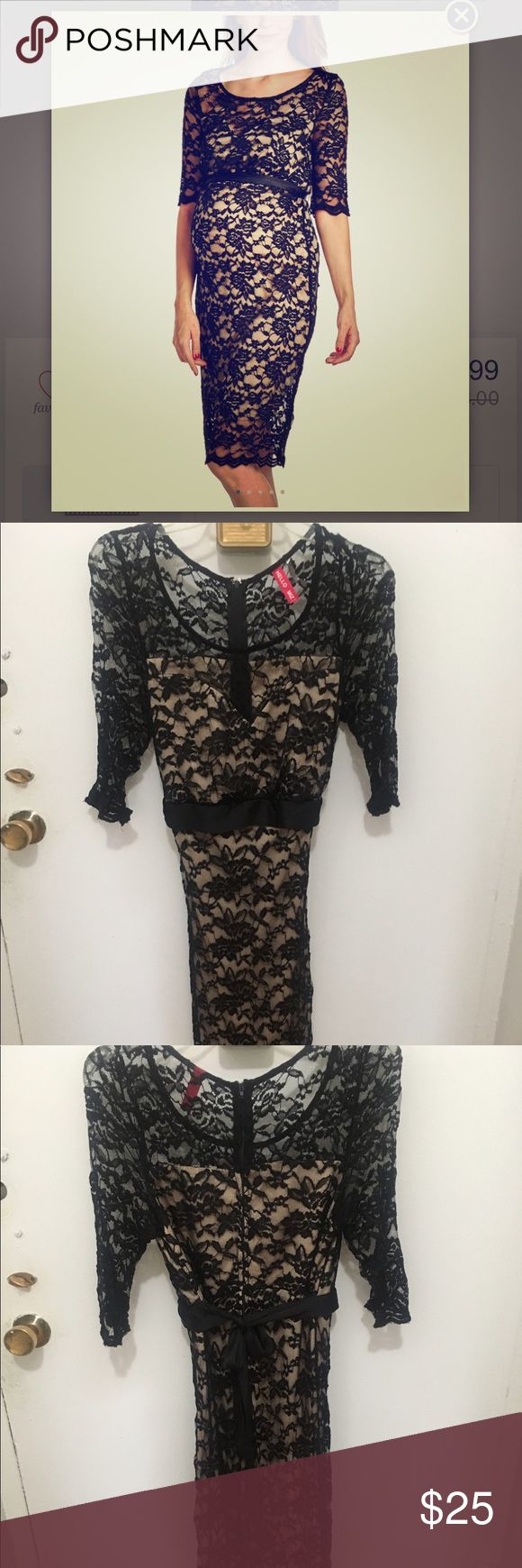 Maternity Black Lace long dress size small New without tags, never worn black lace with nude underlay maternity dress. Beautiful dress to make you feel beautiful during your pregnancy! Size small Hello Miz. Feel free to ask any questions! Always happy to bundle! Hello MIZ Dresses