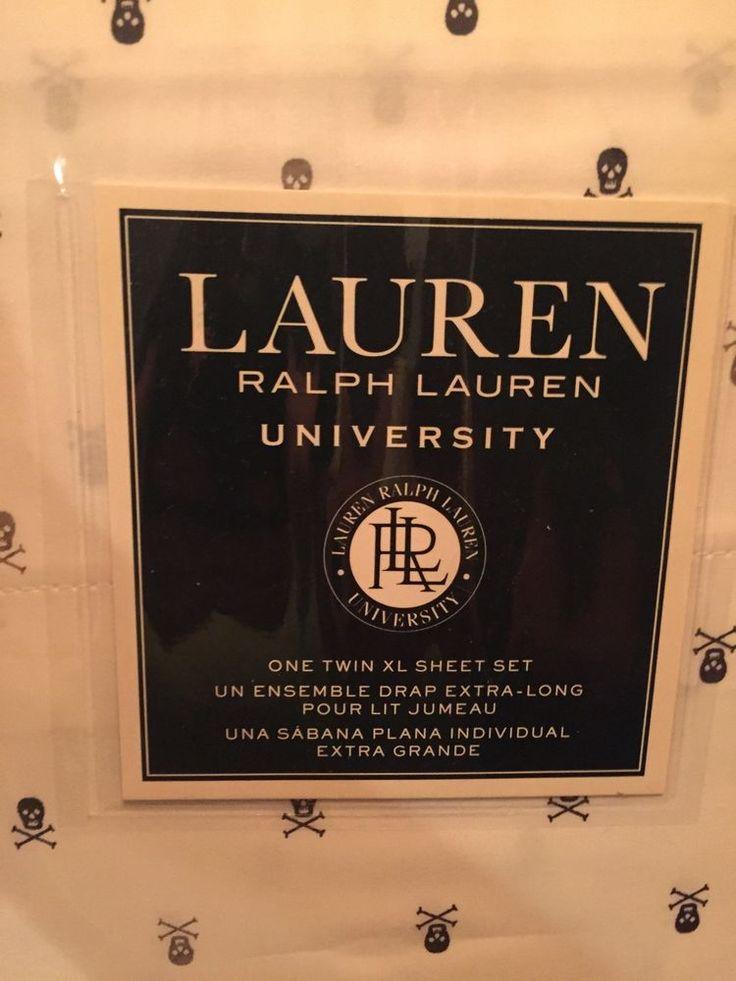 New Ralph Lauren University Twin XL Sheet Set White Black Gray Skull Xbones | eBay