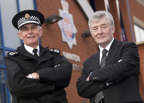 Tony Lloyd, Police and Crime Commissioner for Greater Manchester and Sir Peter Fahy, Chief Constable of Greater Manchester Police, during a visit to Swinton Police Station.  Mr Lloyd - former MP for the Manchester Central constituency - was elected to the role in November 2012.http://www.gmpcc.org.uk