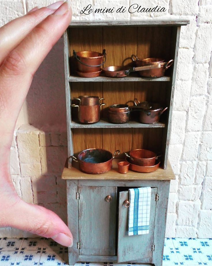 Miniature filled cabinet ♡ ♡ By leminidiclaudia - vintage dollhouse kitchen farm cupboard (inspiration)
