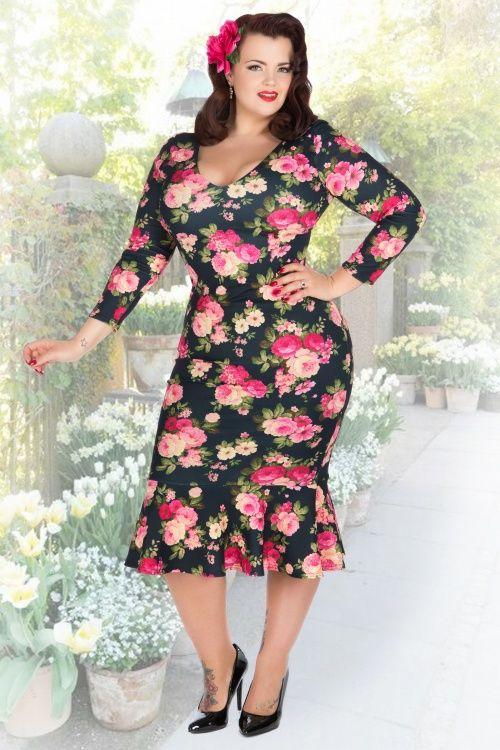 Lady Voloptuous Rose Floral BellaTrix Plus size Dress 100 14 15487 1
