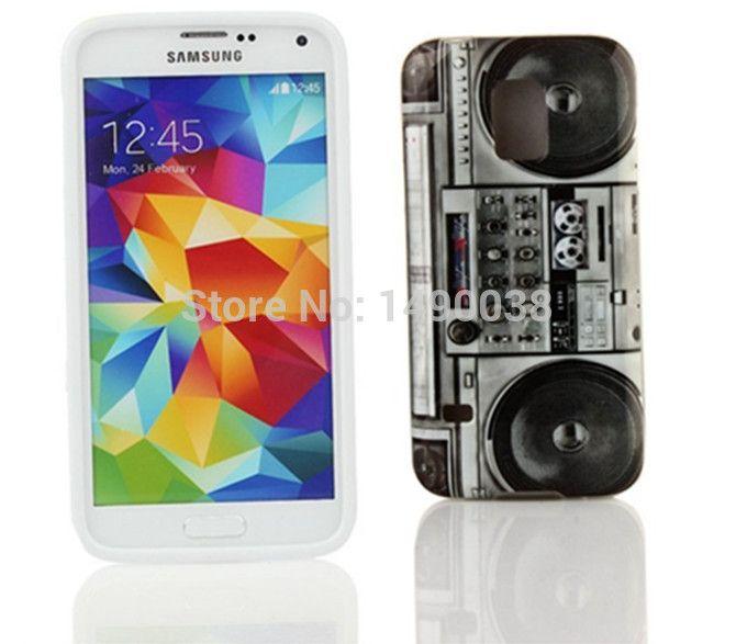Retro Radio Black Flower Pattern Soft Case for Samsung Galaxy S5 i9600 Phone Case