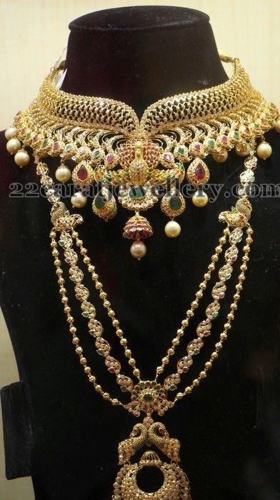 Jewellery Designs: Peacock Chandbali Uncut Diamond Sets