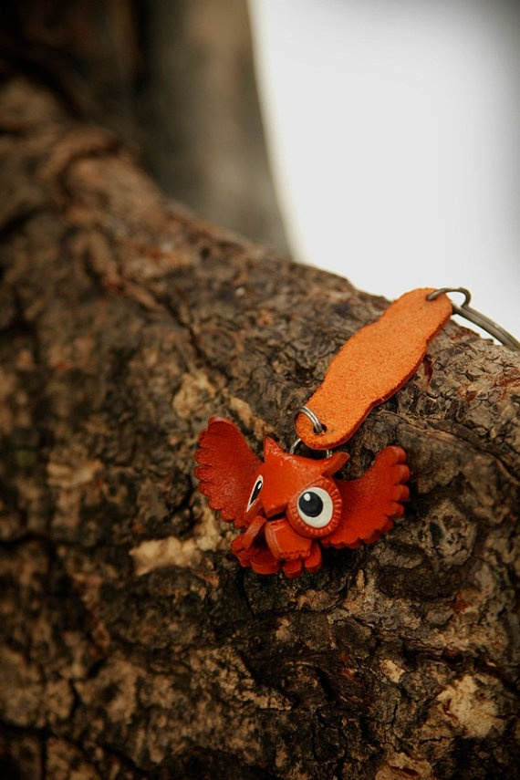 Leather Owl Key Chain. $10.90, via Etsy.