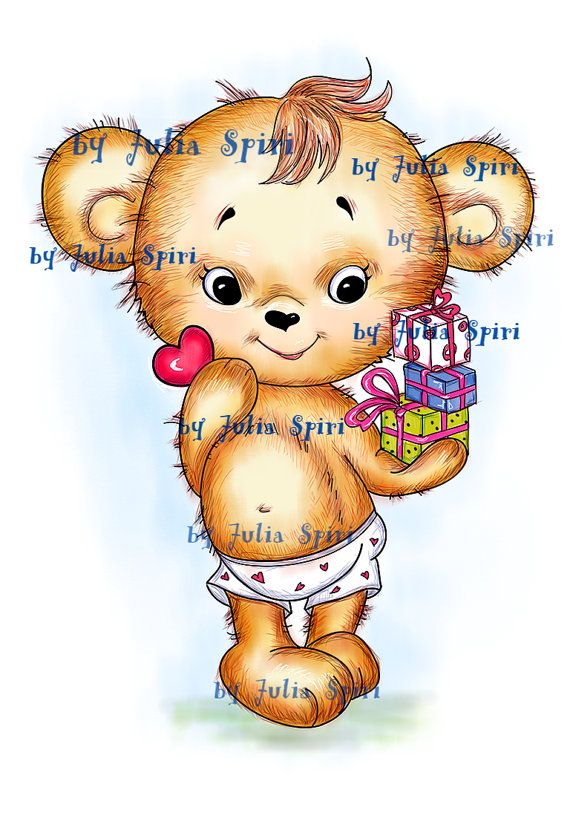 Digital Stamps Digi stamp Coloring pages Teddy by JuliaSpiri