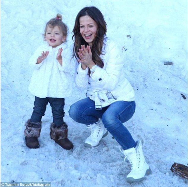 Snow much fun: Tammin Sursok has recently enjoyed a family trip to the snow with her husba...