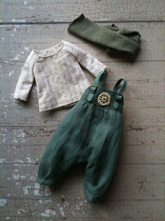 Land Girl Set for Blythe - Green linen