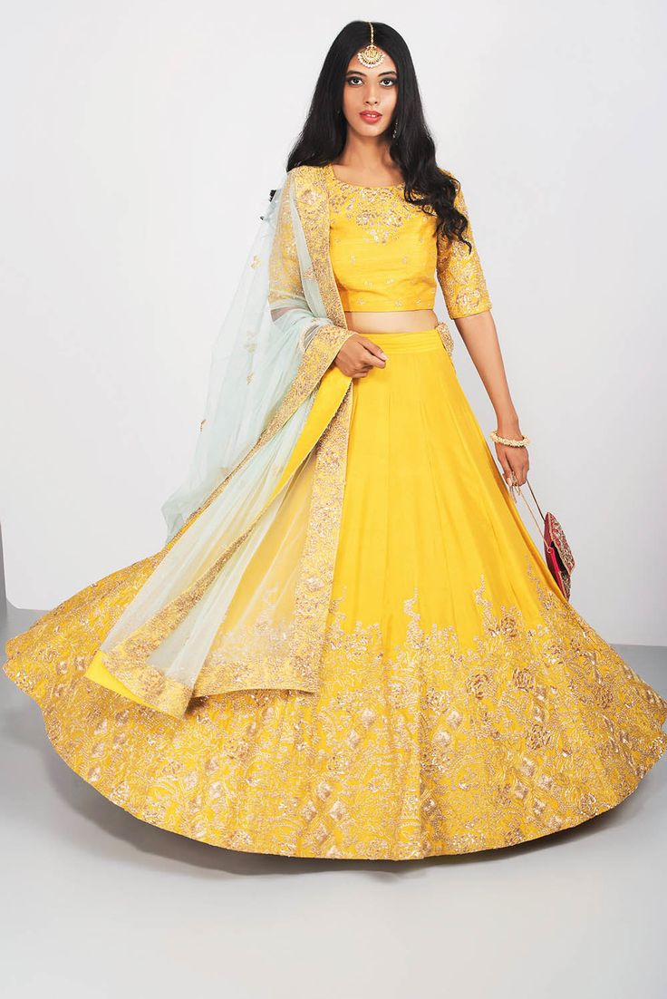 ANEESH AGARWAL yellow and mint floral embroidered lehenga set