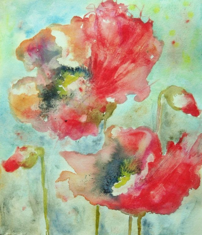 Artist: Karin Johannesson; Watercolor, 2013, Painting Dreamy Poppies II