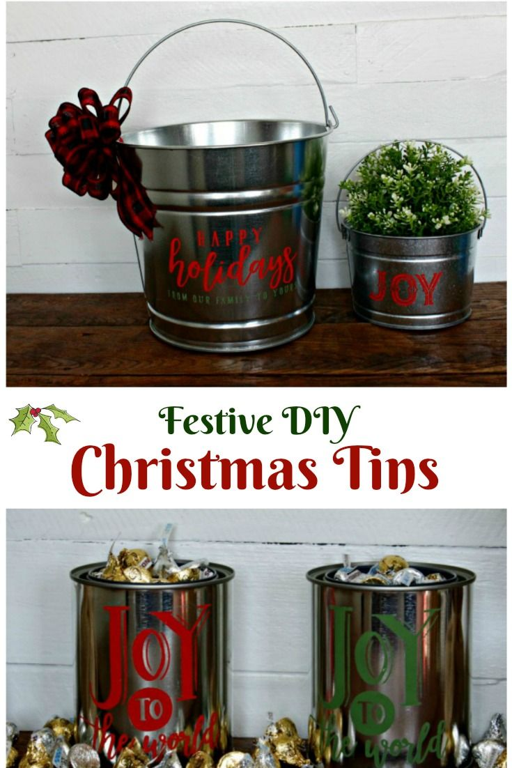 Festive Holiday Christmas Galvanized Gift Buckets and Tins | Knick ...