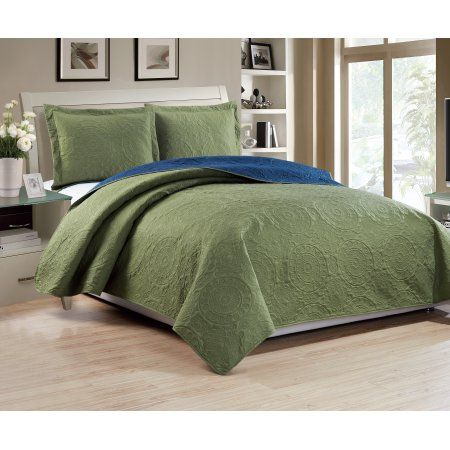 Madison 3-Piece Reversible Quilt Set, Sage/Navy - Queen, Green