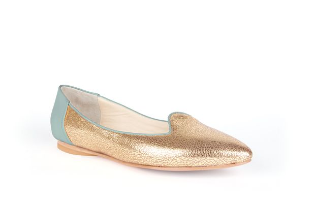 The Feminine Slipper by Poppy Barley Made to Measure, colour blocked in Robin Egg and Metallic Gold. #Customize your leather colours and hardware. #Handcrafted to your measurements. #Flats #BalletFlats poppybarley.com