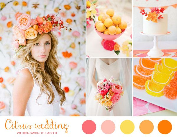 summer citrus wedding inspiration http://weddingwonderland.it/2014/05/matrimonio-arancione-giallo-rosa.html