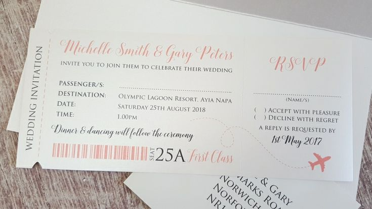 Travel Wedding Invite ◦ Boarding Pass Wedding Invitation ◦ Destination Wedding Invitation